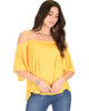 Sway Me Off The Shoulder Yellow Strappy Top - Main Image