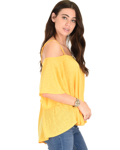 Sway Me Off The Shoulder Yellow Strappy Top