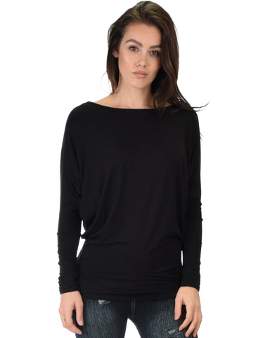 Contemporary Long Sleeve Black Dolman Tunic Top