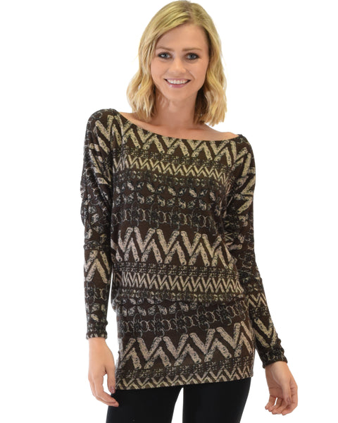 Contemporary Long Sleeve Patterned Brown Dolman Tunic Sweater Top