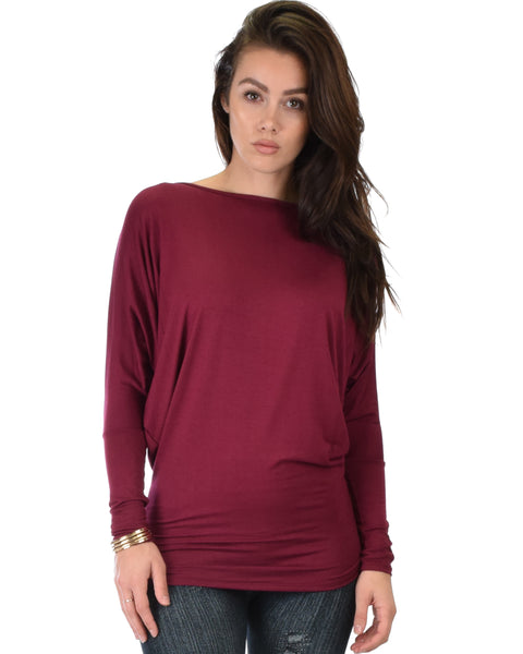 Contemporary Long Sleeve Burgundy Dolman Tunic Top