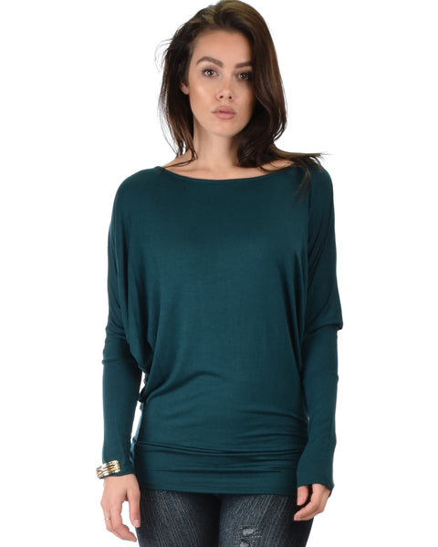 Contemporary Long Sleeve Green Dolman Tunic Top