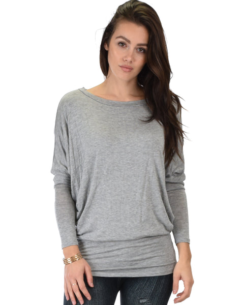 Contemporary Long Sleeve Grey Dolman Tunic Top
