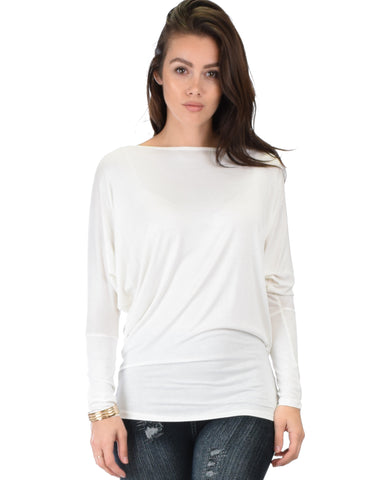 Contemporary Long Sleeve Ivory Dolman Tunic Top