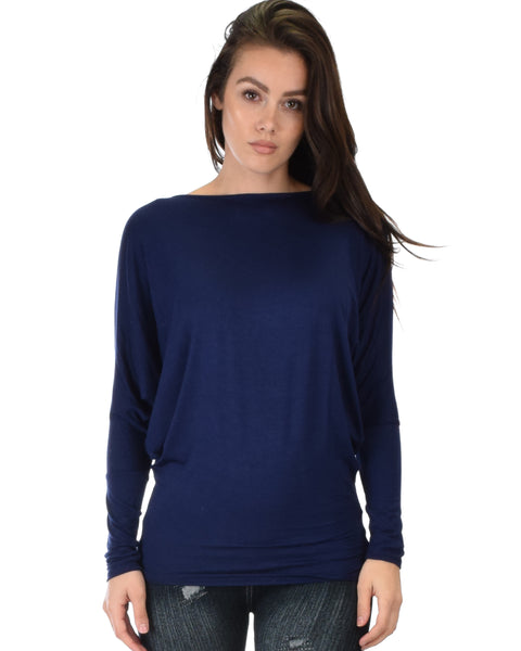 Contemporary Long Sleeve Navy Dolman Tunic Top