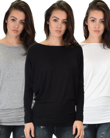 3 Pack Contemporary Long Sleeve Dolman Tunic Top