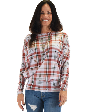 Lyss Loo Basic Instincts Long Sleeve Peach Plaid Dolman Tunic Top