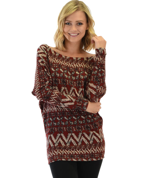 Contemporary Long Sleeve Patterned Burgundy Dolman Tunic Sweater Top