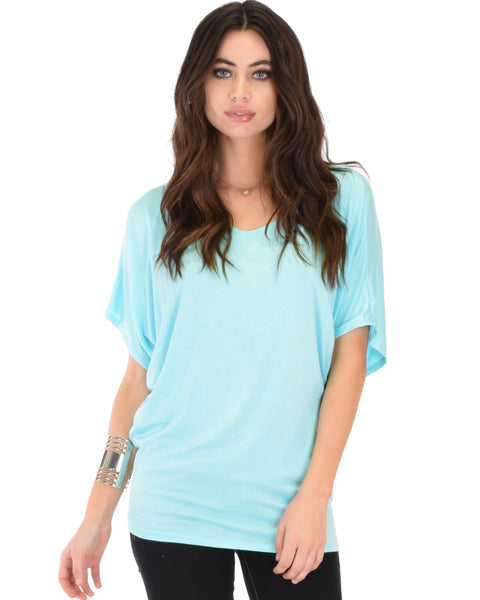 Contemporary Dolman Aqua Tunic Top