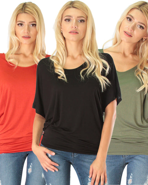 3 Pack Contemporary Dolman Tunic Top