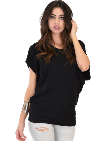 Contemporary Dolman Black Tunic Top