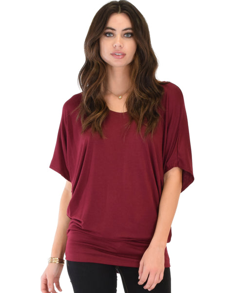 Contemporary Dolman Burgundy Tunic Top