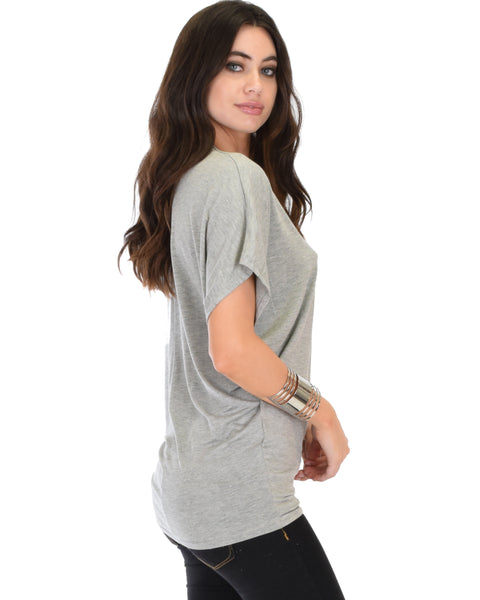 Contemporary Dolman Grey Tunic Top