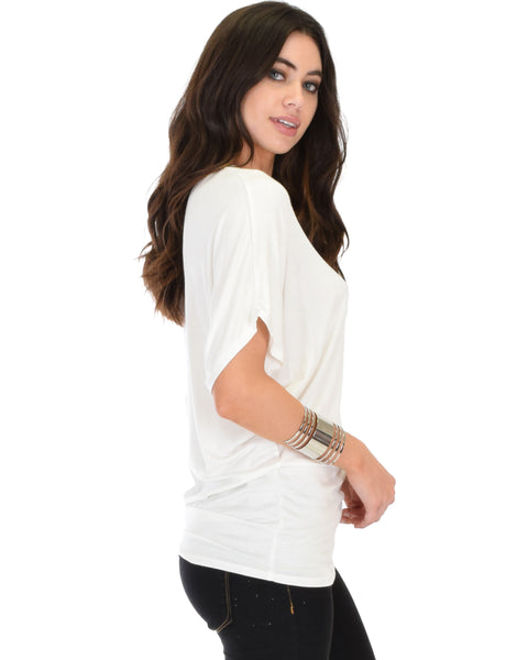 Contemporary Dolman Ivory Tunic Top