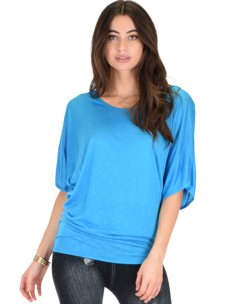 Contemporary Dolman Blue Slub Tunic Top