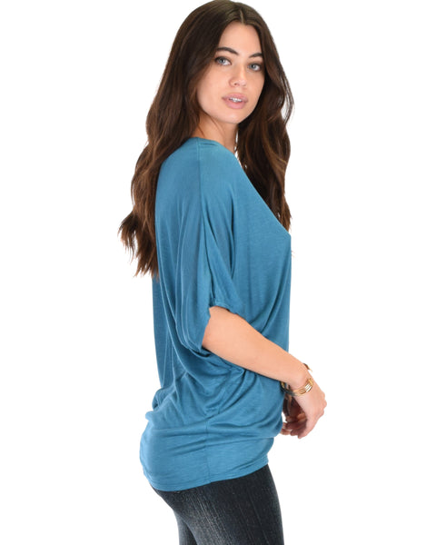 Contemporary Dolman Teal Slub Tunic Top