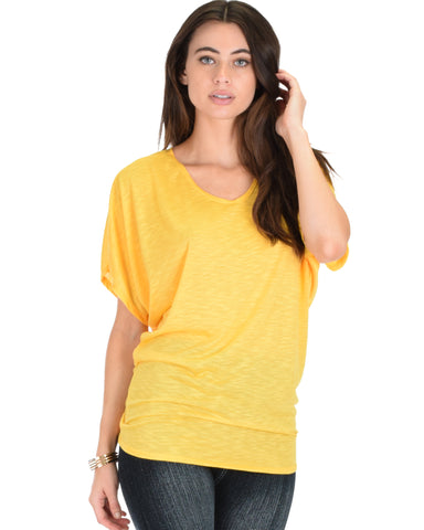 Contemporary Dolman Yellow Slub Tunic Top