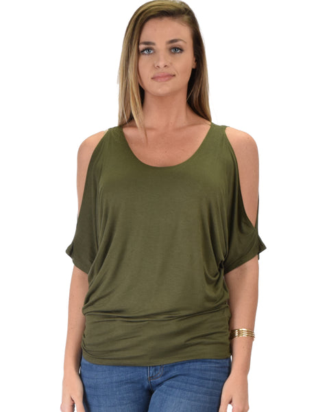 Contemporary Cold Shoulder Olive Dolman Tunic Top
