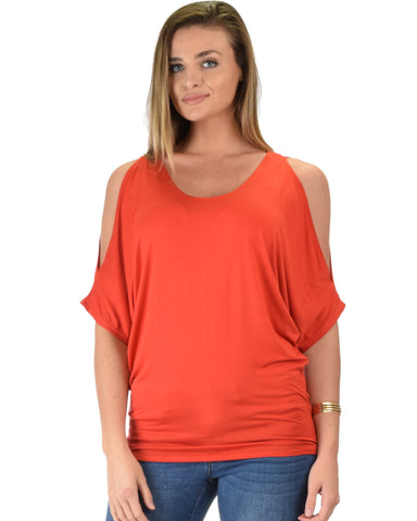 Contemporary Cold Shoulder Rust Dolman Tunic Top