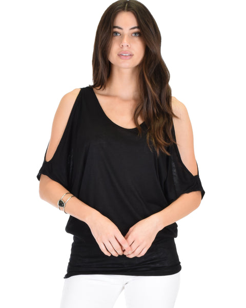 Cold Shoulder Black Slub Dolman Tunic Top