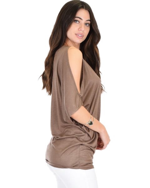 Cold Shoulder Brown Slub Dolman Tunic Top