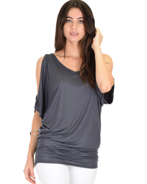 Cold Shoulder Charcoal Slub Dolman Tunic Top