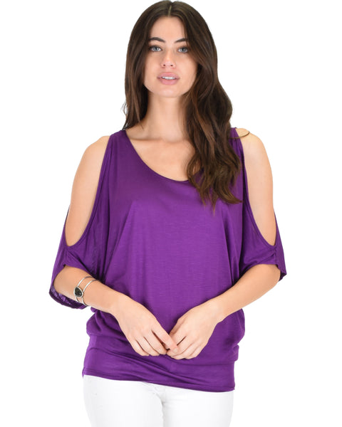 Cold Shoulder Purple Slub Dolman Tunic Top