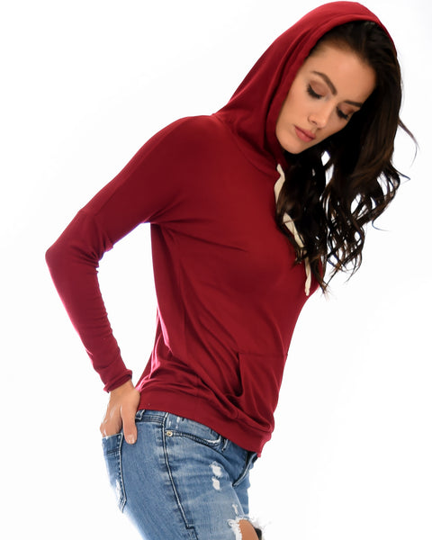 Easy Rider Drawstring Burgundy Hoodie Top