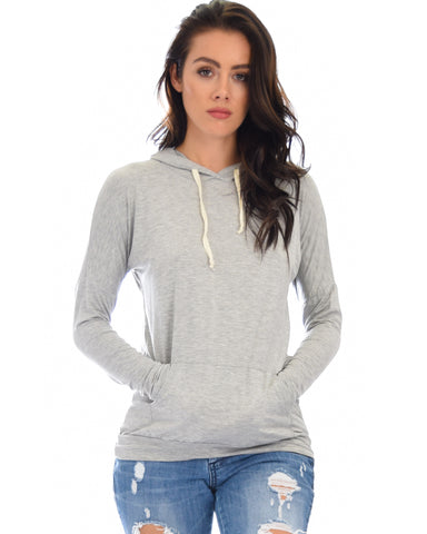 Easy Rider Drawstring Grey Hoodie Top