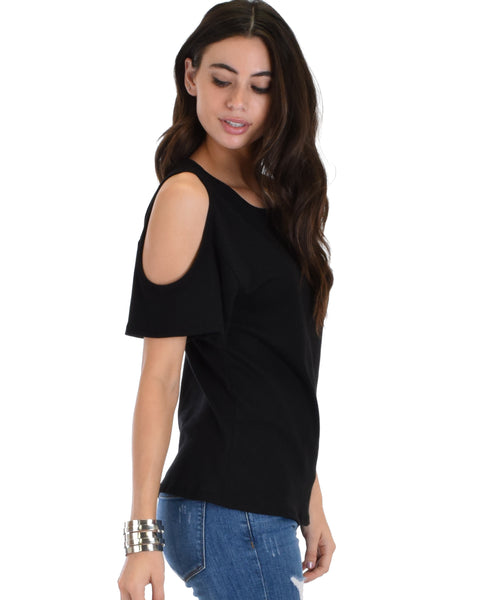 Ribbed Black Open Shoulder Top