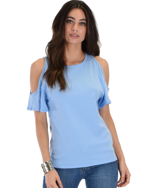 Ribbed Blue Open Shoulder Top