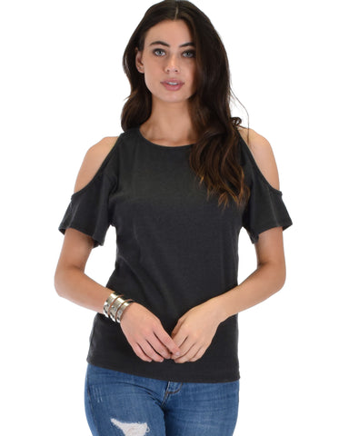 Ribbed Charcoal Open Shoulder Top