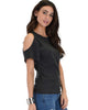 Ribbed Charcoal Open Shoulder Top - Side Image