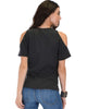 Ribbed Charcoal Open Shoulder Top - Back Image