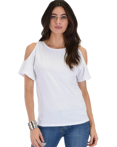 Ribbed Ivory Open Shoulder Top