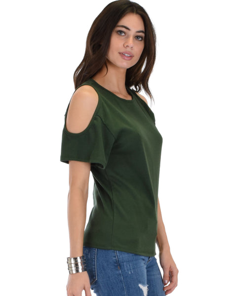 Ribbed Olive Open Shoulder Top