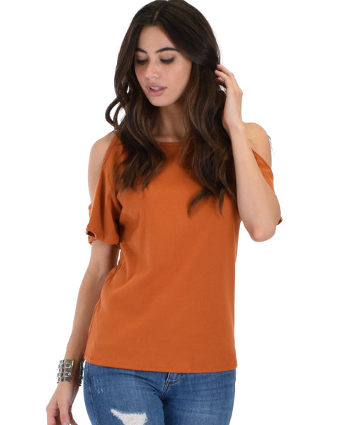 Ribbed Rust Open Shoulder Top