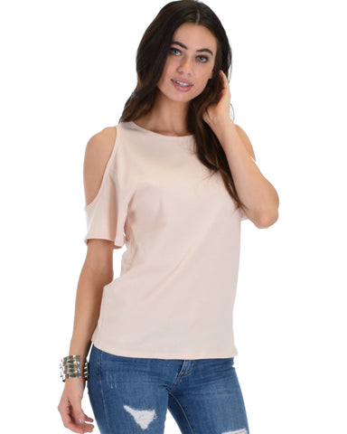 Ribbed Pink Open Shoulder Top