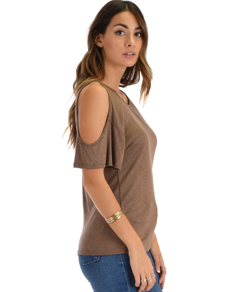 Cold Shoulder Brown Slub Tunic Top