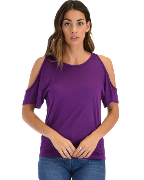 Cold Shoulder Purple Slub Tunic Top