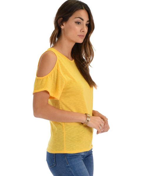 Cold Shoulder Yellow Slub Tunic Top