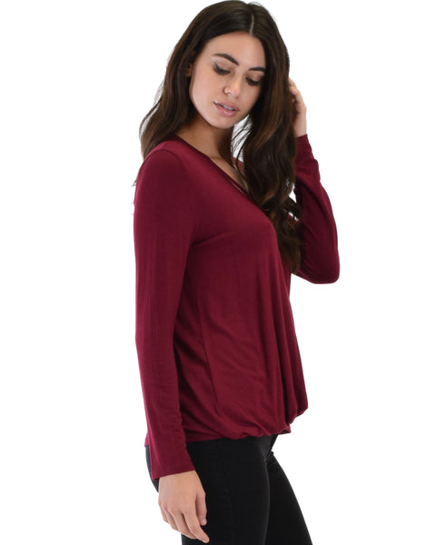 Sweeter Than Sugar Burgundy Long Sleeve Cross Straps Top