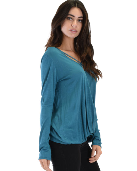 Sweeter Than Sugar Teal Long Sleeve Cross Straps Top