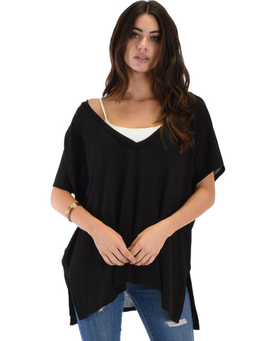 Wide Neck Oversized Black Thermal Top