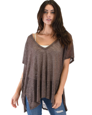 Wide Neck Oversized Brown Thermal Top