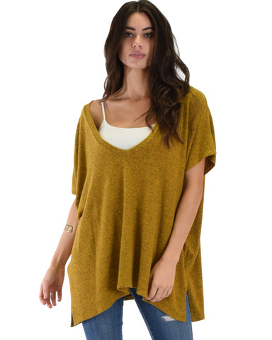 Wide Neck Oversized Mustard Thermal Top