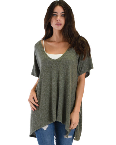 Wide Neck Oversized Olive Thermal Top