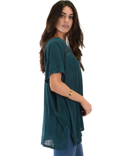 Wide Neck Oversized Teal Thermal Top