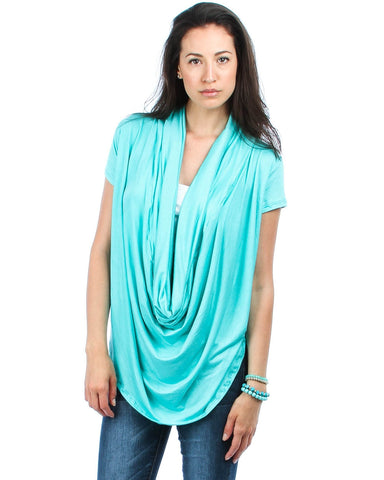 Way Deep Cowl Neck Blue Tunic Top