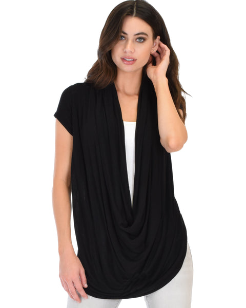 Way Deep Cowl Neck Black Tunic Top